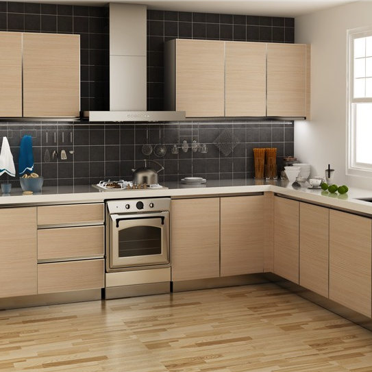 Customized Saddletree Wood Grain Melamine Kitchen Cabinet